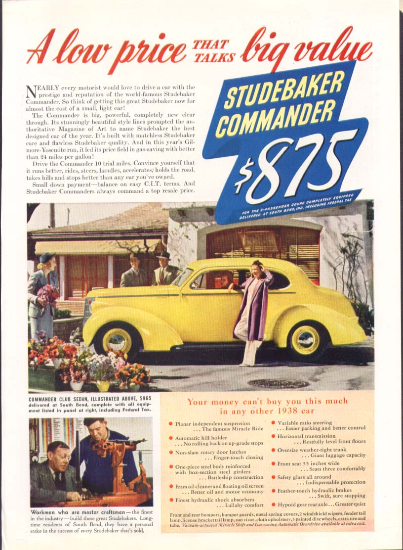 A low price talks big value Studebaker ad 1938
