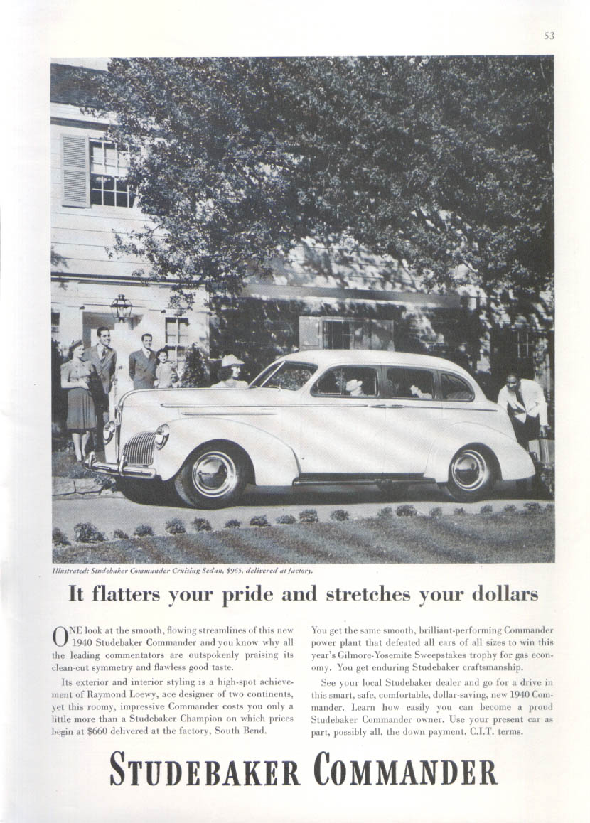 Image for Flatters pride stretches dollars Studebaker ad 1940 New Yorker