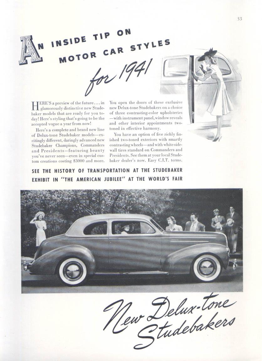 Image for Inside tip on motor car styles Studebaker ad 1940