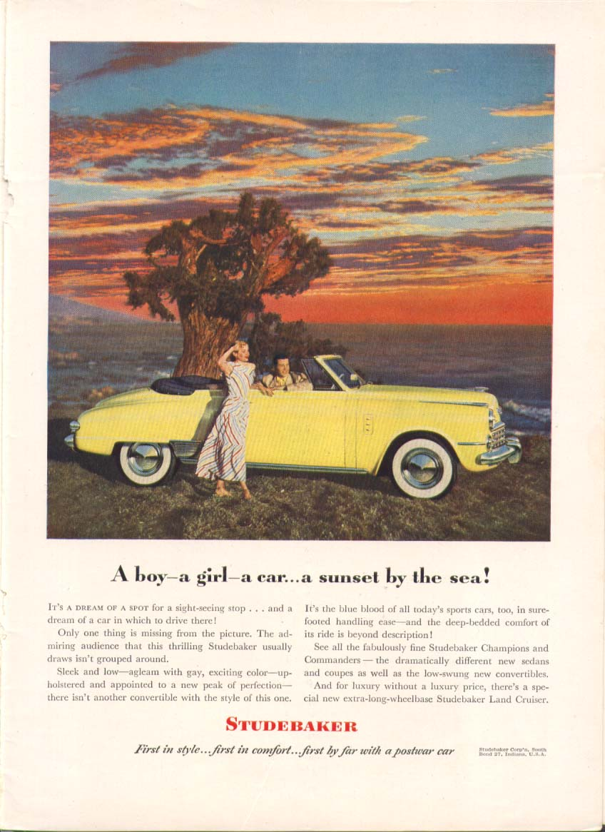 A boy a girl a car a sunset by the sea Studebaker 1948