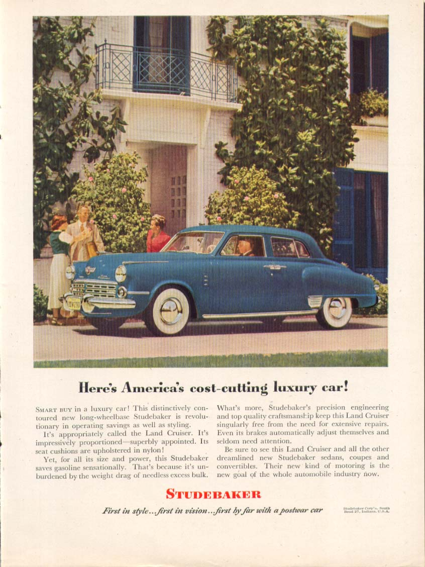 America's cost-cutting luxury car Studebaker ad 1948