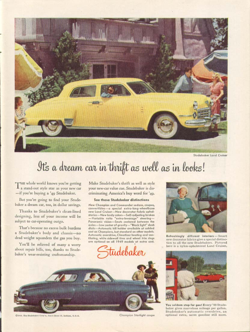 A dream in thrift  as well as looks Studebaker ad 1949