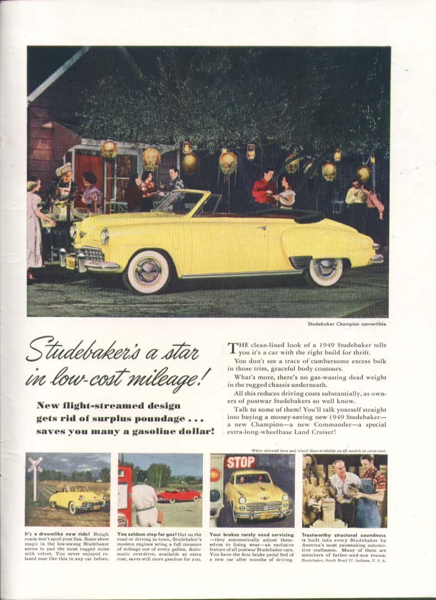 A star in low-cost mileage! Studebaker ad 1949