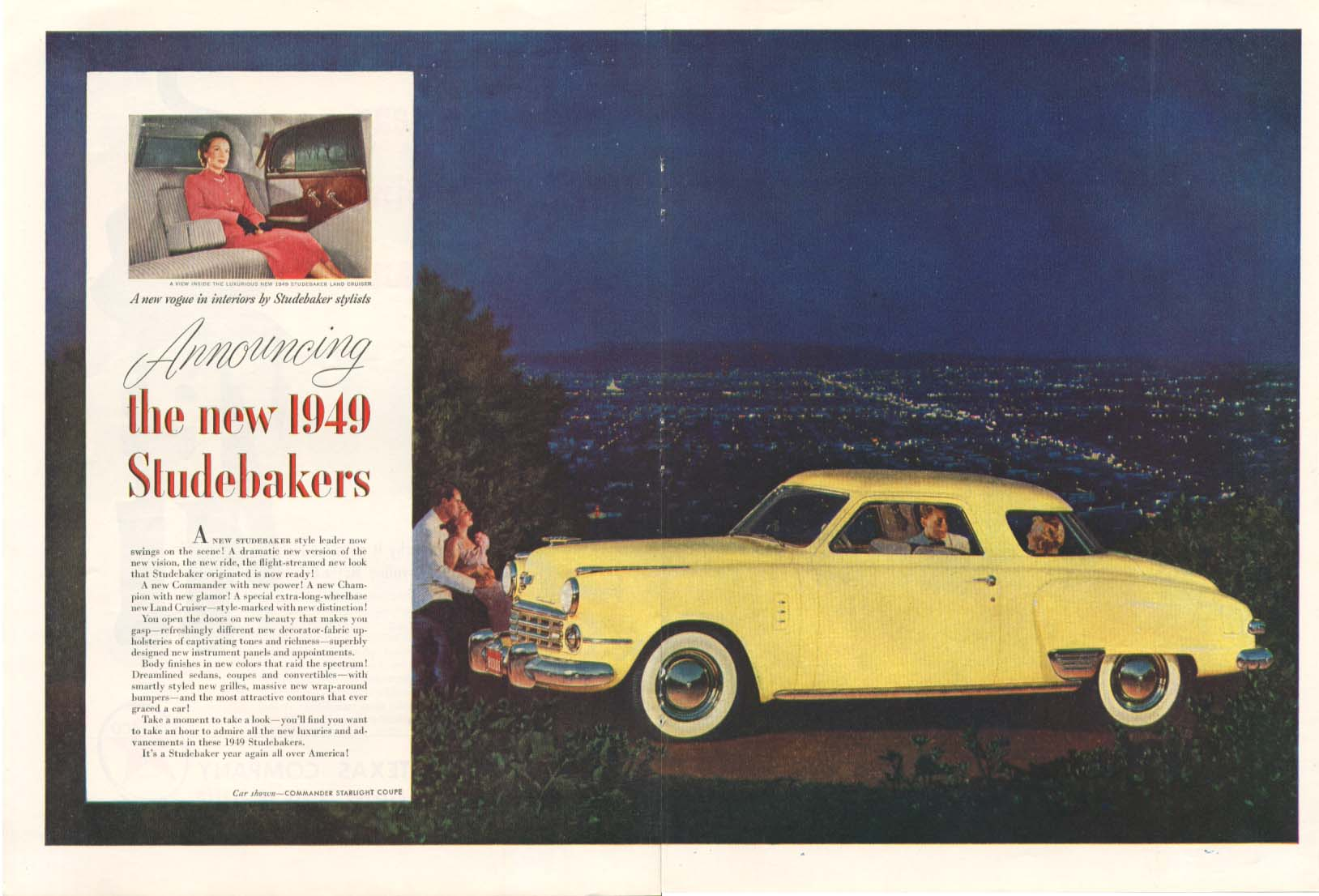 Announcing the new 1949 Studebaker 2-page ad