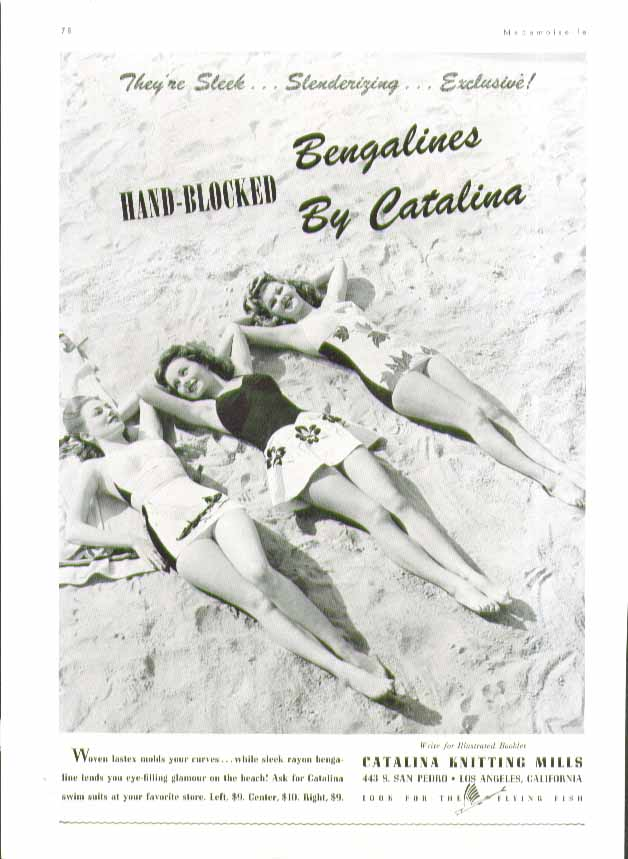 Image for Hand-Blocked Bengalines Catalina swimsuit ad 1943