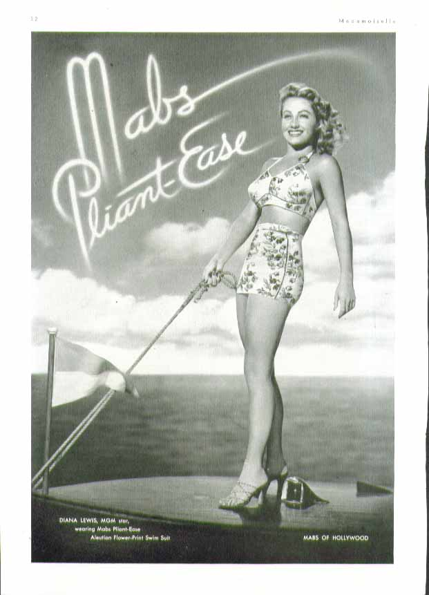 Image for Diana Lewis in Mabs Pliant-Ease two-piece swimsuit ad 1944