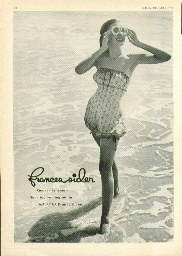 Image for Frances Sider Quaker Britches nude top Ameritex pique swimsuit ad 1946
