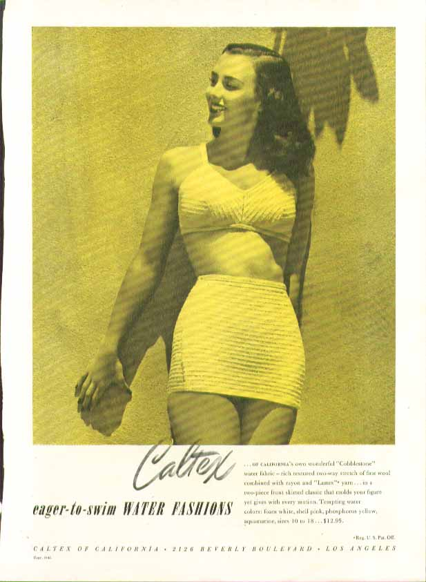 Image for Caltex Eager-to-Swim Water Fashions Cobblestone swimsuit ad 1946