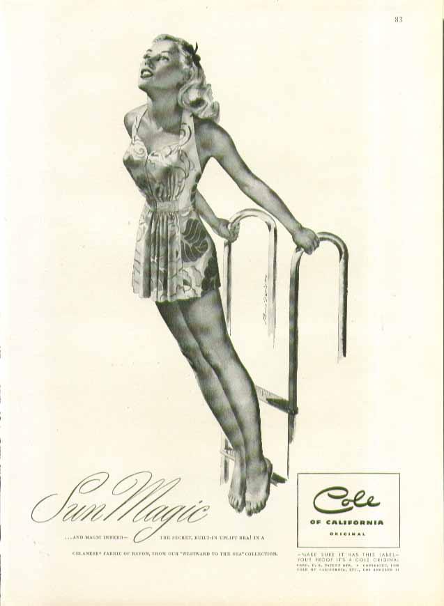 Image for Sun Magic Cole of California swimsuit ad 1946 Ren Wicks pin-up