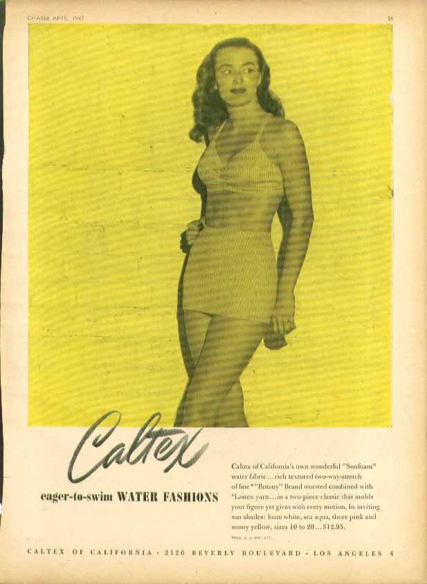 Image for Caltex Eager-to-Swim Water Fashions Sunfoam 2-piece swimsuit ad 1947