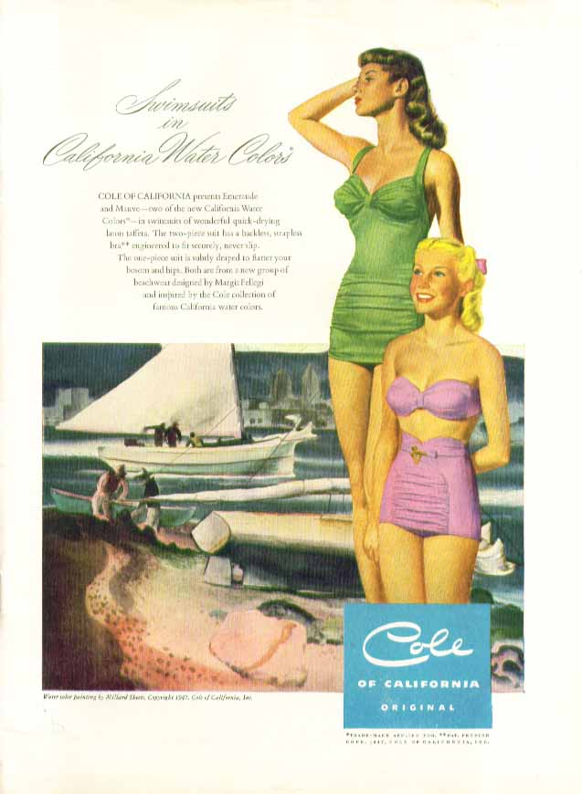 Image for Swimsuits in California Water Colors Cole ad 1947 Ren Wicks pin-up?