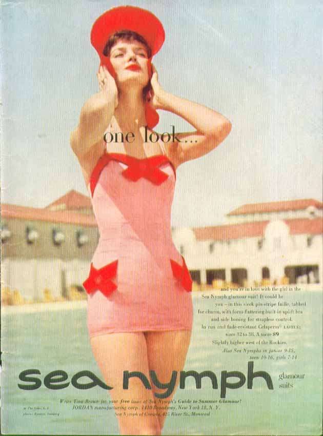 Image for One Look Sea Nymph Glamour swimsuit ad 1954