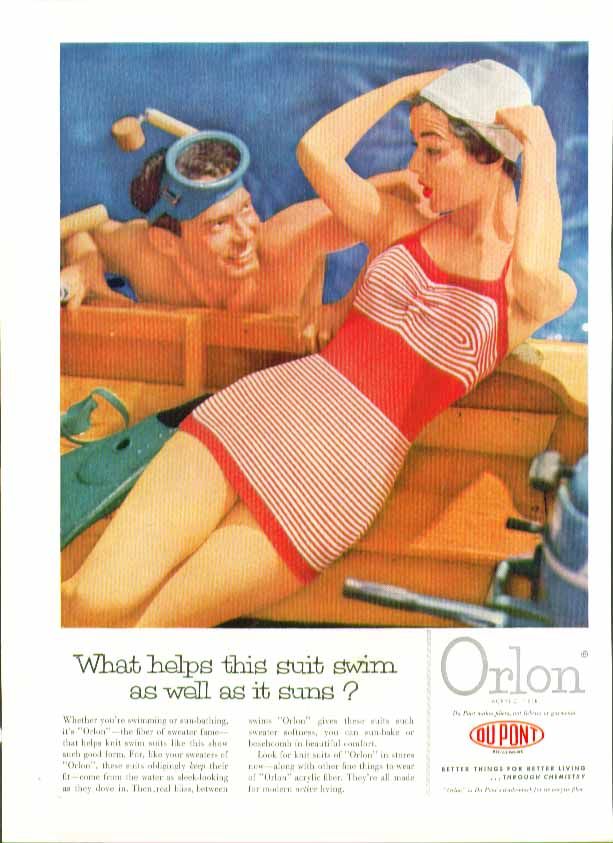 Image for What helps this suit swim as well as it suns? DuPont Orlon swimsuit ad 1954