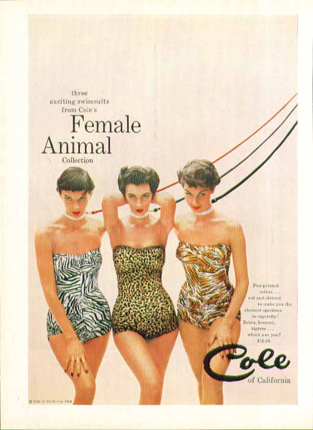 3 exciting swimsuits from Cole's Female Animal Collection ad 1954