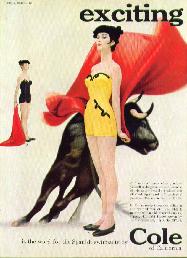 Image for exciting is the word for the Spanish swimsuits by Cole of California ad 1955