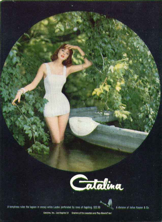 A temptress rules the lagoon Catalina swimsuit ad 1955 Suzy Parker