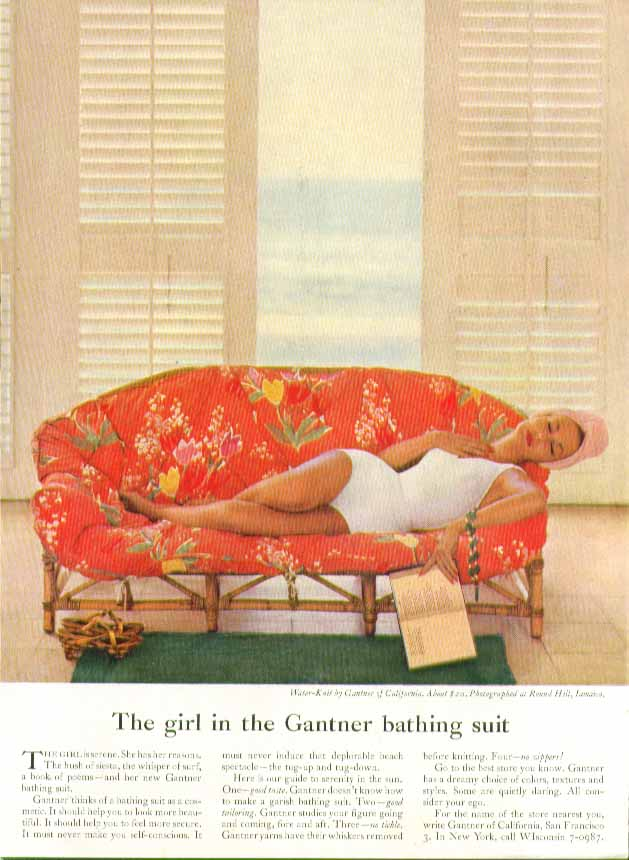 Image for The girl in the Gantner bathing suit swimsuit ad 1957