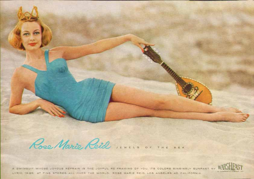 Image for Jewels by the Sea Rose Marie Reid swimsuit ad 1957 mandolin
