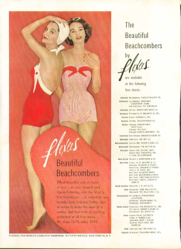 Image for The Beautiful Beachcombers by Flexees swimsuit ad 1957