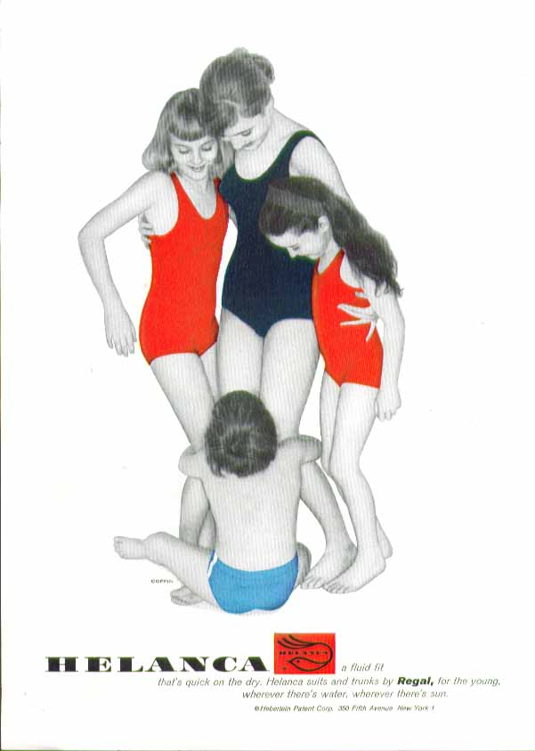 A fluid fit that's quick on the dry Helanca swimsuit ad 1958
