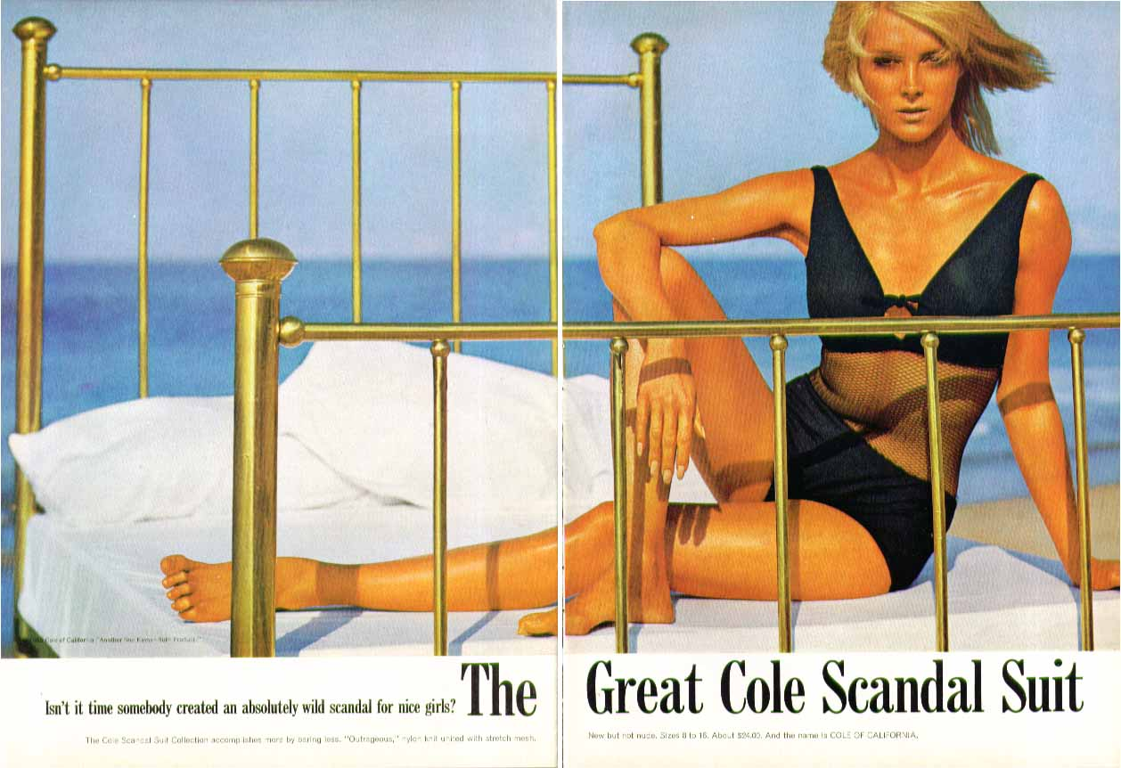 An absolutely wild scandal for nice girls Cole Scandal Suit swimsuit ad 1965