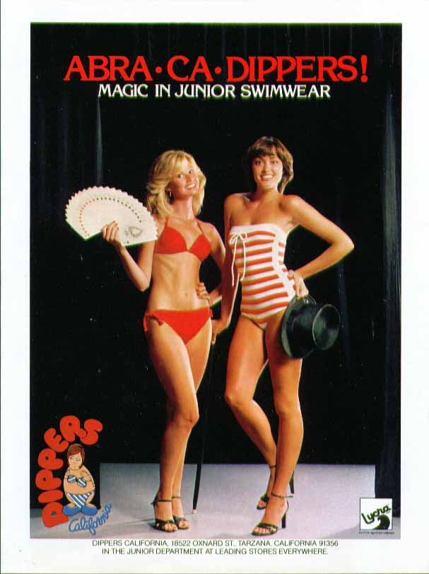 Abra-Ca-Dippers! Magic in Junior Swimwear Dippers Lycra swimsuit ad 1980