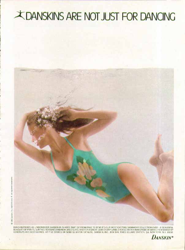 An underwater garden Danksins Are Not Just For Dancing swimsuit ad 1981