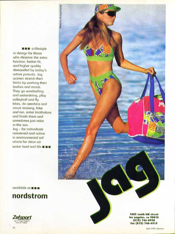 A lifestyle in design for those who deserve the extra Jag swimsuit ad 1990