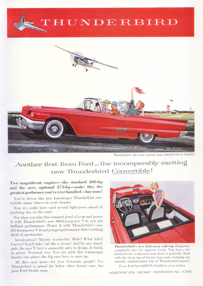 Another first from Thunderbird convertible ad 1958