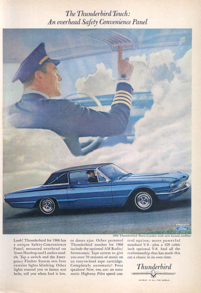 Image for Ford Thunderbird overhead convenience panel ad 1966