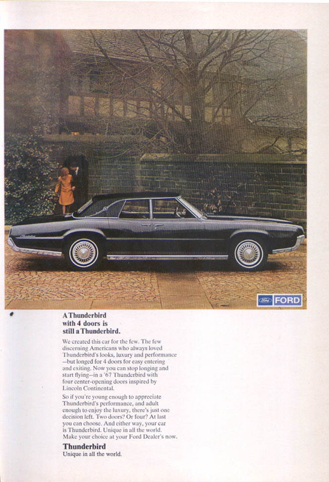 Image for Ford Thunderbird 4 doors discerning Americans ad 1967