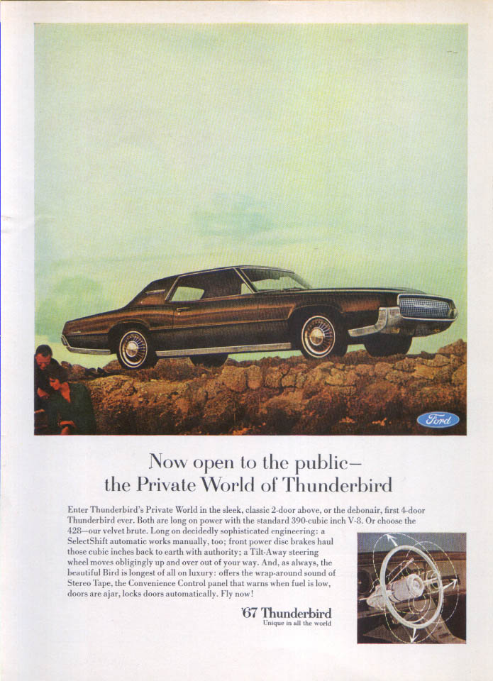 Image for Ford Thunderbird open to public Private World ad 1967