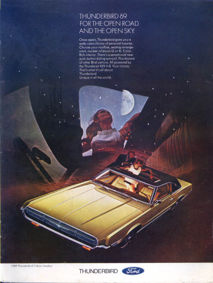 Image for Ford Thunderbird open road open sky sunroof ad 1969