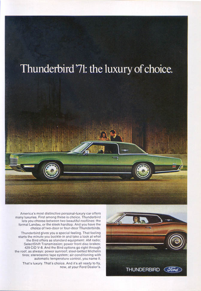 Image for Ford Thunderbird luxury of choice ad 1971