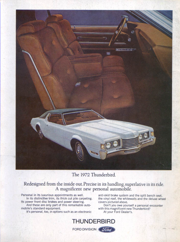 Image for Ford Thunderbird Redesigned from the inside out ad 1972