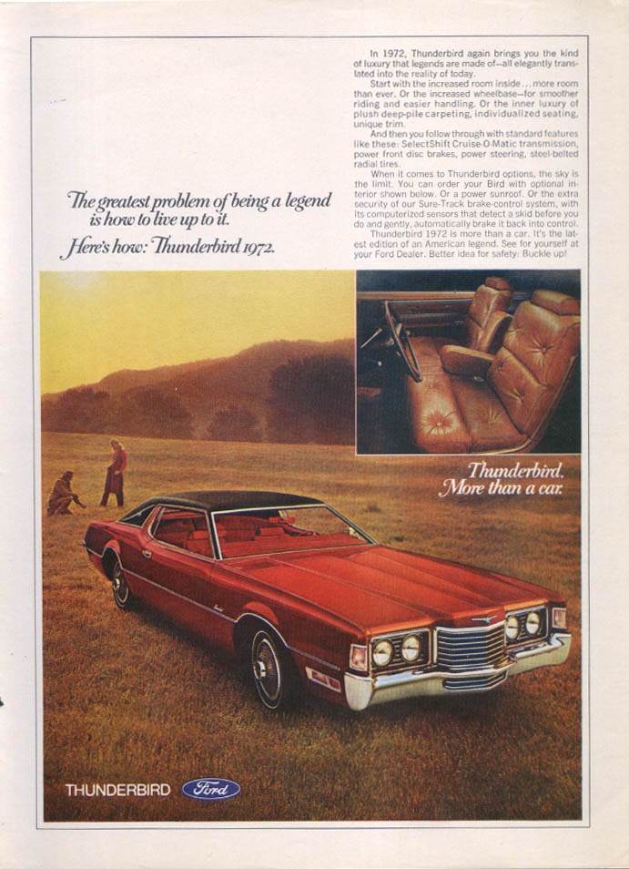 Image for Ford Thunderbird how to live up to a legend ad 1972