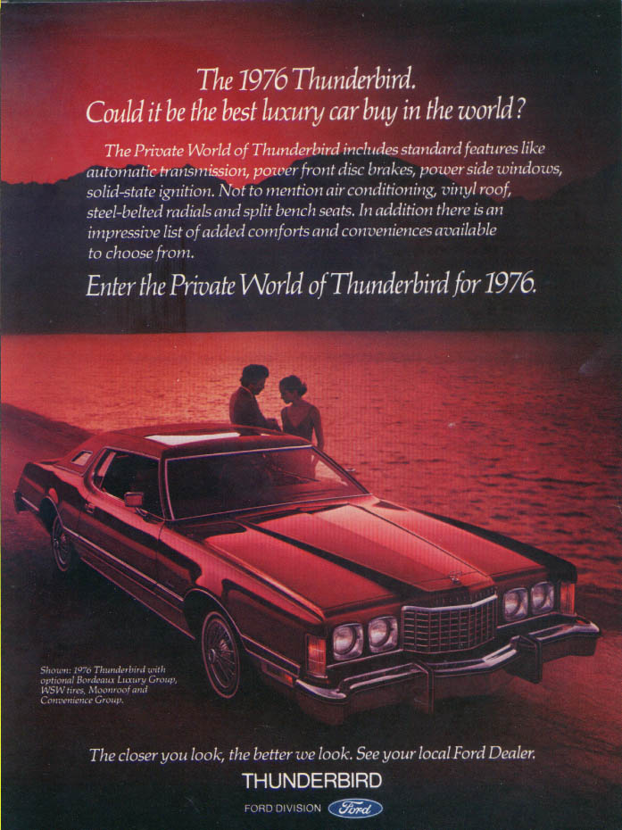 Image for Ford Thunderbird Private World best luxury car ad 1976