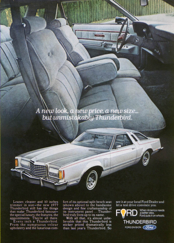 Image for Ford Thunderbird leaner cleaner trimmer ad 1977