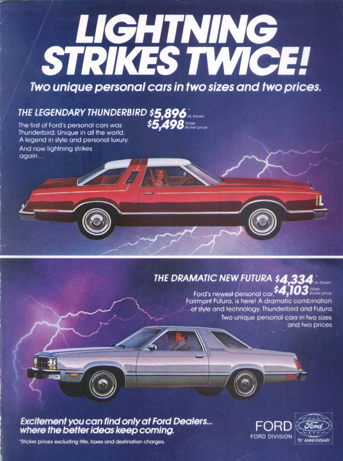 Image for Ford Thunderbird Lightning Strikes Twice Futura ad 1978