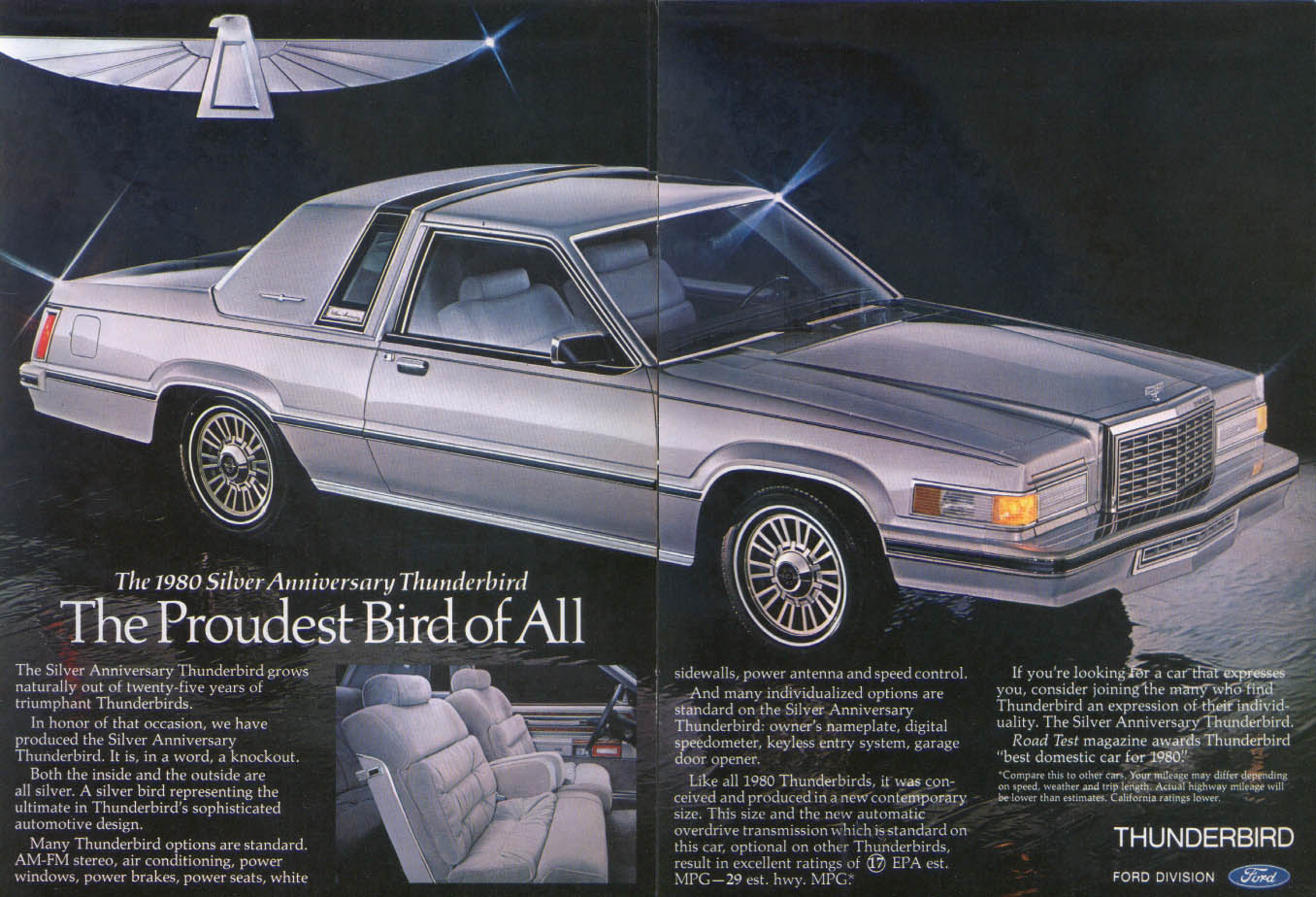 Image for Ford Thunderbird triumphant Silver Anniversary ad 1980
