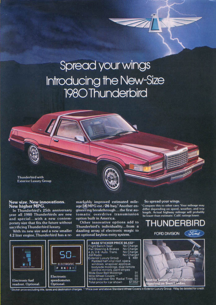 Image for Ford Thunderbird Spread your wings New-Size ad 1980