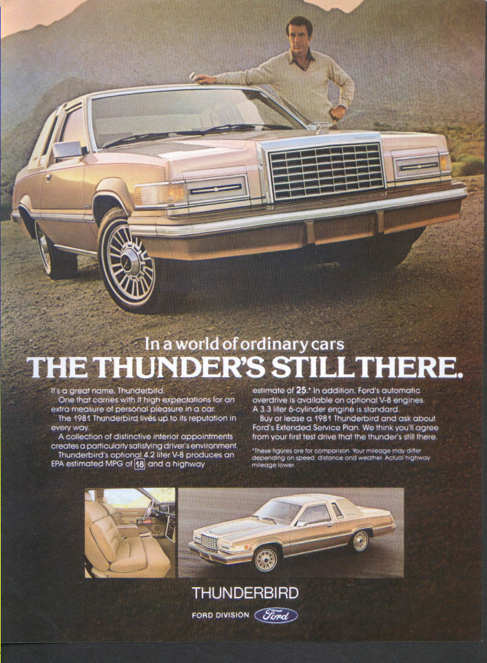 Image for Ford Thunderbird the thunder's still there ad 1981 Bon Appetit