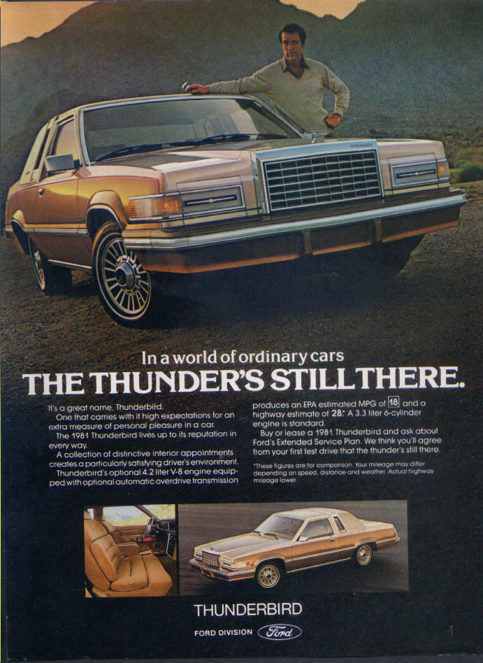 Image for Ford Thunderbird the thunder's still there ad 1981 Time
