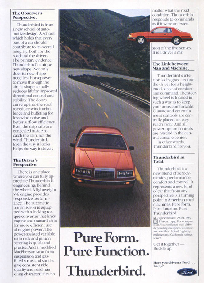 Image for Ford Thunderbird Pure Form Function ad 1983