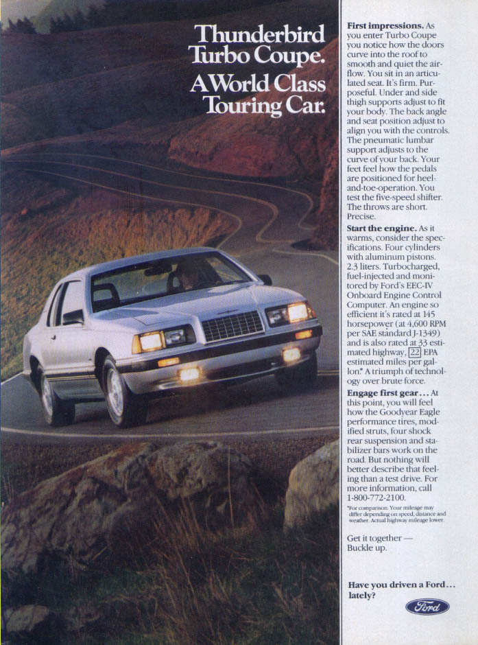 Image for Ford Thunderbird Turbo Coupe World Class ad 1983