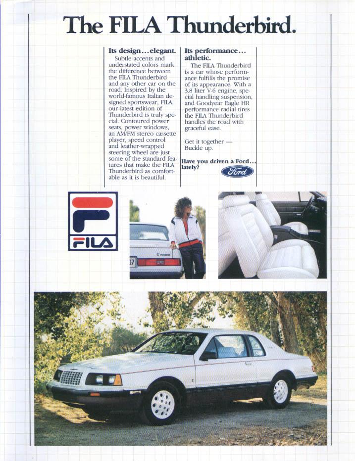Image for Ford Thunderbird FILA athletic elegant ad 1984