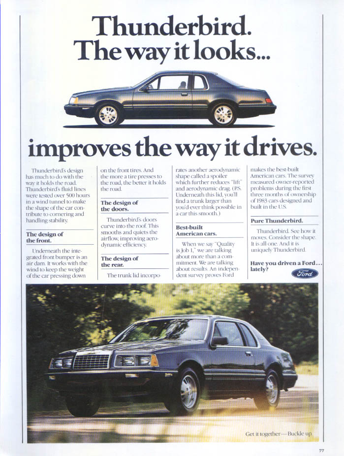 Image for Ford Thunderbird looks improves way it drives ad 1984