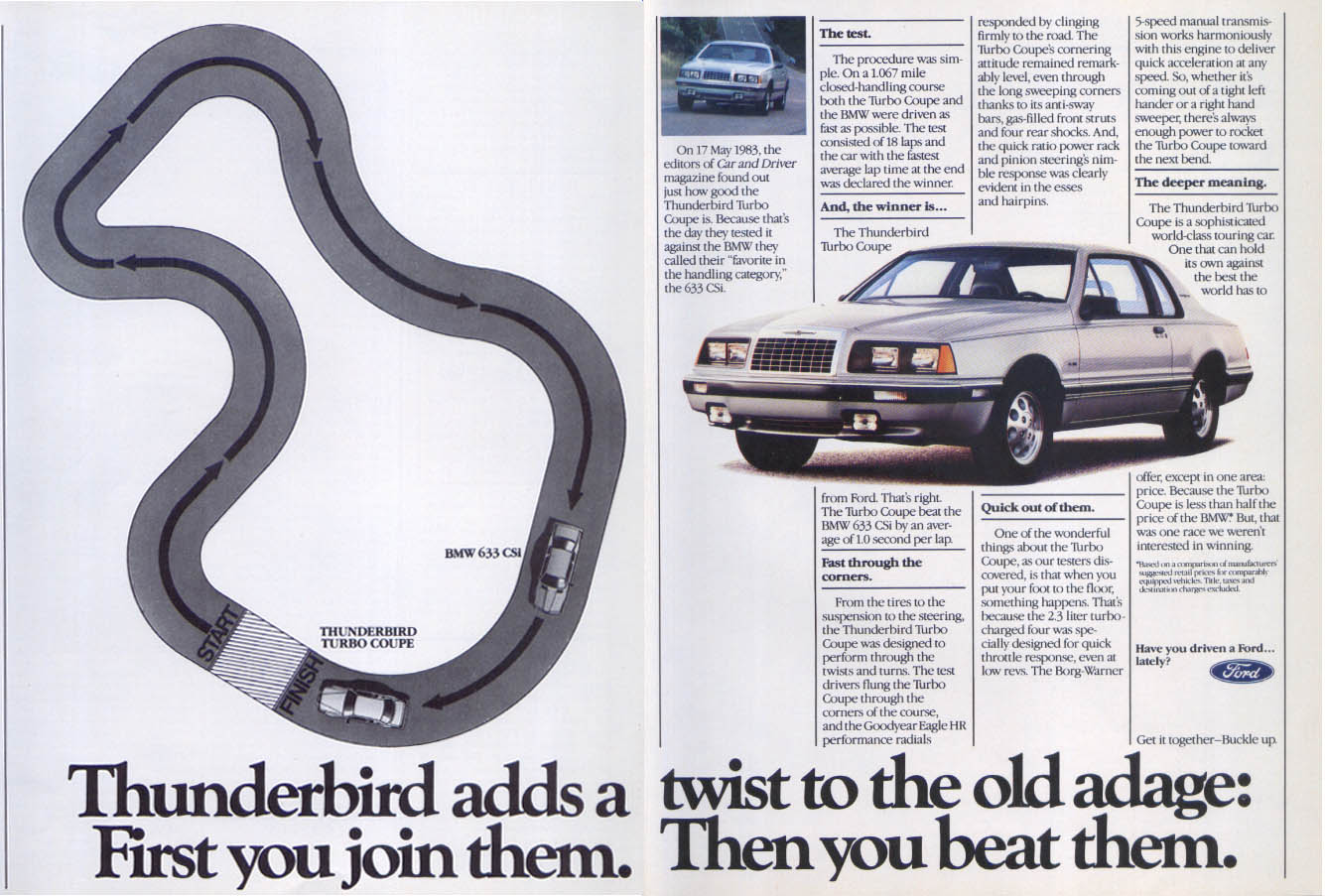Image for Ford Thunderbird adds twist old adage join beat ad 1984