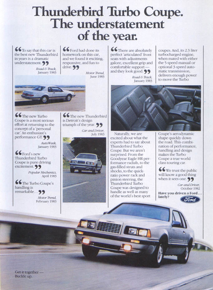 Image for Ford Thunderbird Turbo Coupe understatement ad 1984
