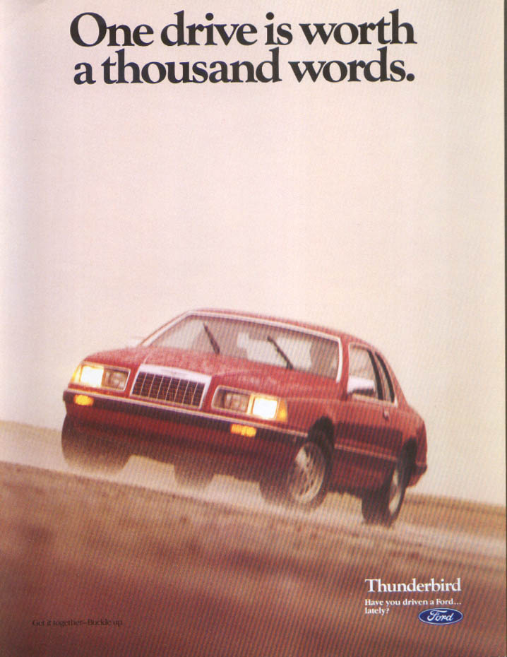 Image for Ford Thunderbird One drive worth thousand words ad 1984
